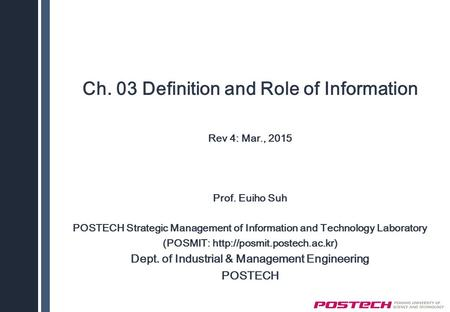 Ch. 03 Definition and Role of Information
