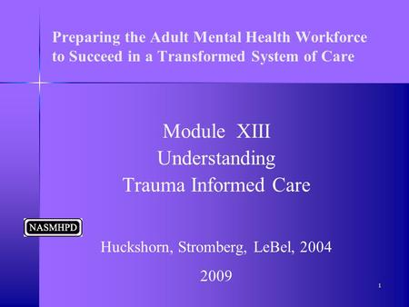 Preparing the Adult Mental Health Workforce to Succeed in a Transformed System of Care Module XIII Understanding Trauma Informed Care Huckshorn, Stromberg,