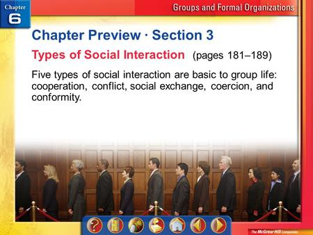 Chapter Preview 3 Chapter Preview · Section 3 Types of Social Interaction (pages 181–189) Five types of social interaction are basic to group life: cooperation,