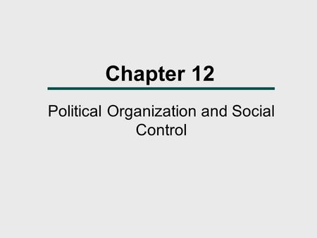 Chapter 12 Political Organization and Social Control.
