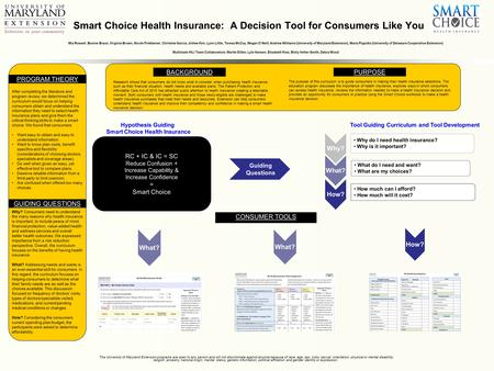 Smart Choice Health Insurance: A Decision Tool for Consumers Like You Mia Russell, Bonnie Braun, Virginia Brown, Nicole Finkbeiner, Christine Garcia, Jinhee.