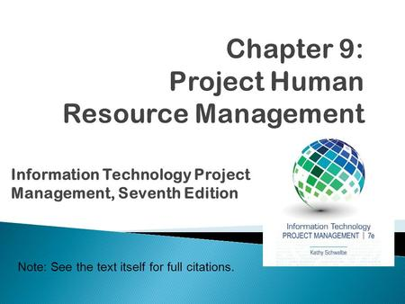 Chapter 9: Project Human Resource Management