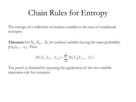 Chain Rules for Entropy