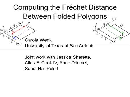 Computing the Fréchet Distance Between Folded Polygons Carola Wenk University of Texas at San Antonio Joint work with Jessica Sherette, Atlas F. Cook IV,