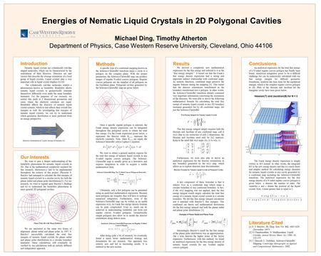 Introduction Nematic liquid crystals are cylindrically rod-like shaped molecules, which can be characterized by the orientations of their directors. Directors.