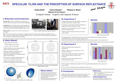 SPECULAR FLOW AND THE PERCEPTION OF SURFACE REFLECTANCE Stefan Roth * Fulvio Domini † Michael J. Black * * Computer Science † Cognitive and Linguistic.