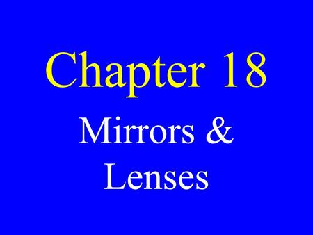 Chapter 18 Mirrors & Lenses. Calculate the angle of total internal reflection in ignoramium (n = 4.0)
