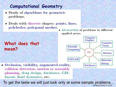 Computational Geometry What does that mean? To get the taste we will just look only at some sample problems... [Adapted from S.Suri]