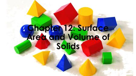 Chapter 12: Surface Area and Volume of Solids