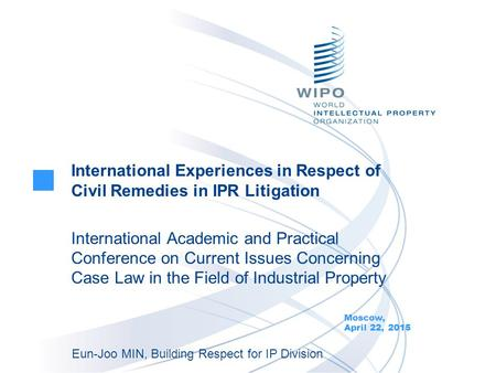 International Experiences in Respect of Civil Remedies in IPR Litigation International Academic and Practical Conference on Current Issues Concerning Case.