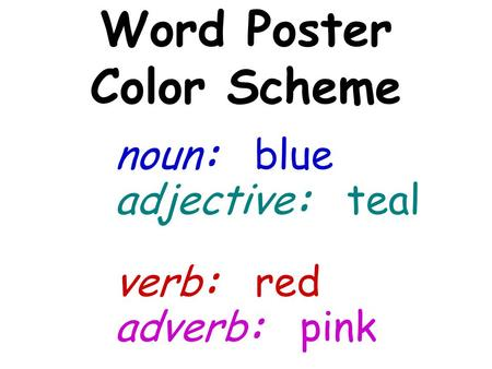 Adjective: teal Word Poster Color Scheme noun: blue verb: red adverb: pink.