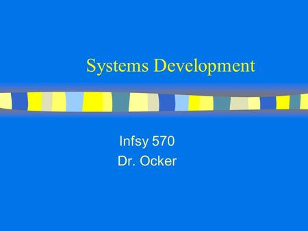 Systems Development Infsy 570 Dr. Ocker. What we Mean by Software Quality Software Quality Effective- ness UsabilityEfficiencyReliability Maintain- ability.