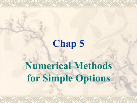 Chap 5 Numerical Methods for Simple Options.  NPV is forced to treat future courses of action as mutually exclusive, ROA can combine them into a single.