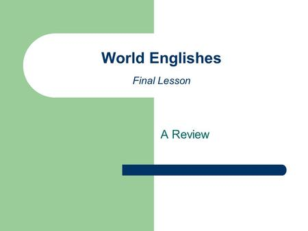A Review World Englishes Final Lesson. The historical, social and political context Consider your own country of origin and describe the role of English.