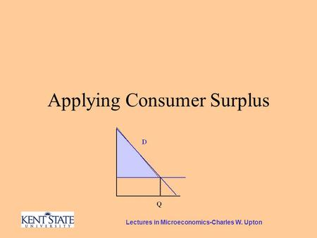 Lectures in Microeconomics-Charles W. Upton Applying Consumer Surplus.