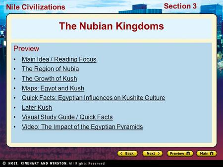The Nubian Kingdoms Preview Main Idea / Reading Focus
