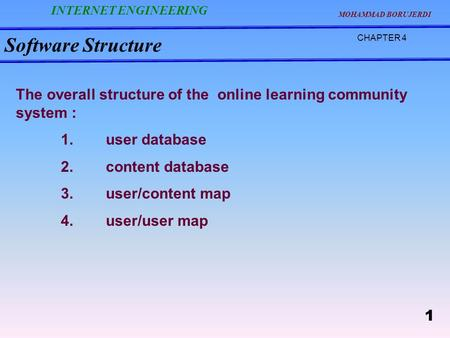 Software Structure CHAPTER 4 The overall structure of the online learning community system : 1.user database 2.content database 3.user/content map 4.user/user.