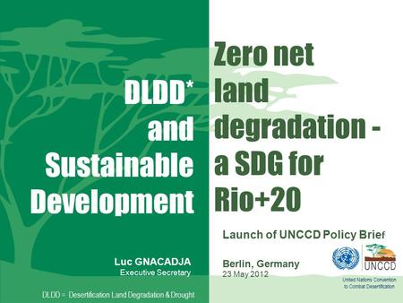 Zero net land degradation - a SDG for Rio+20