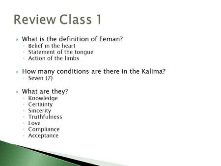 Review Class 1 What is the definition of Eeman?