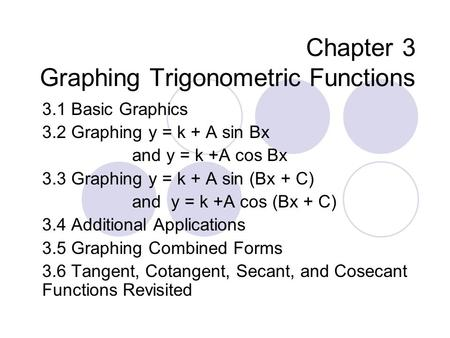 Chapter 3 Graphing Trigonometric Functions 3.1 Basic Graphics 3.2 Graphing y = k + A sin Bx and y = k +A cos Bx 3.3 Graphing y = k + A sin (Bx + C) and.