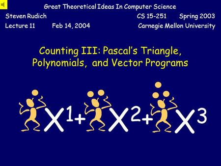 Counting III: Pascal's Triangle, Polynomials, and Vector Programs Great Theoretical Ideas In Computer Science Steven RudichCS 15-251 Spring 2003 Lecture.