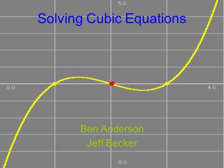 Solving Cubic Equations