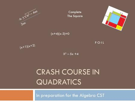 CRASH COURSE IN QUADRATICS In preparation for the Algebra CST -b + b 2 – 4ac 2ac √ (x+4)(x-3)=0 (x+1)(x+2) X 2 – 5x +4 F O I L Complete The Square.