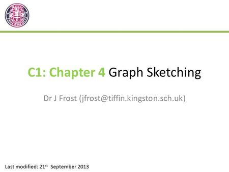 C1: Chapter 4 Graph Sketching