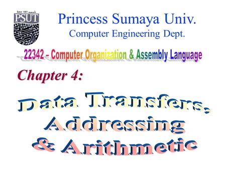 Princess Sumaya Univ. Computer Engineering Dept. Chapter 4: