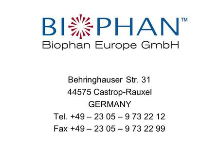 Behringhauser Str. 31 44575 Castrop-Rauxel GERMANY Tel. +49 – 23 05 – 9 73 22 12 Fax +49 – 23 05 – 9 73 22 99.