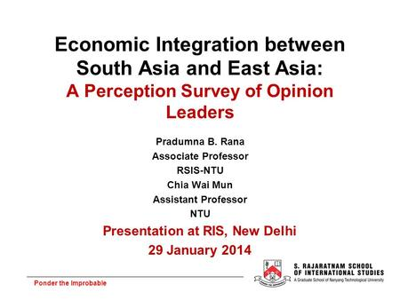 Presentation at RIS, New Delhi