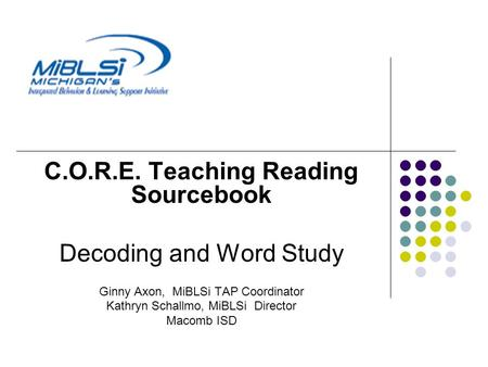 C.O.R.E. Teaching Reading Sourcebook
