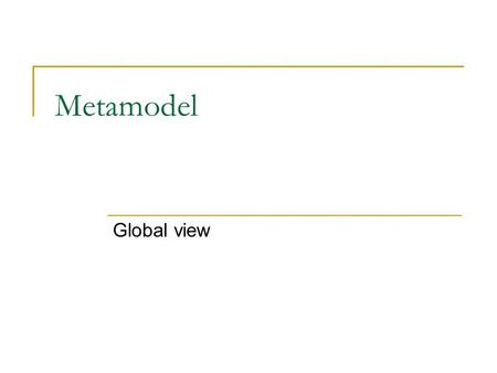 Metamodel Global view. Some sources Object Modeling with UML: Advanced Modeling, Karin Palmkvist, Bran Selic, and Jos Warmer, March 2000.