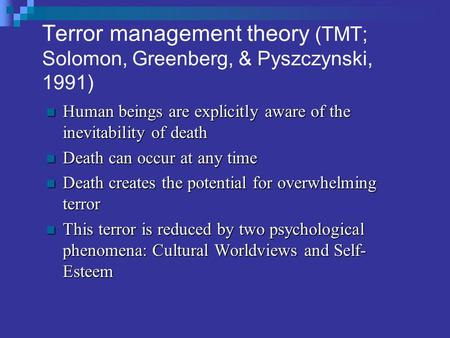 a summary of the terror management theory tmt