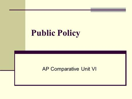 Public Policy AP Comparative Unit VI. Policymaking Definition The conversion of social interests and demands into authoritative public decisions What.