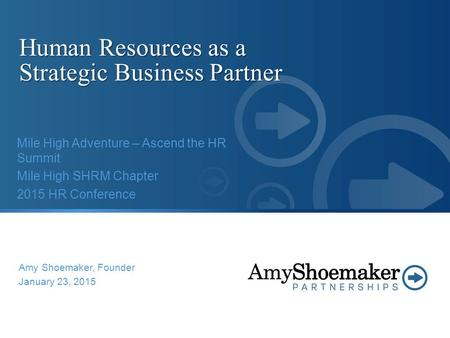 Human Resources as a <strong>Strategic</strong> Business Partner