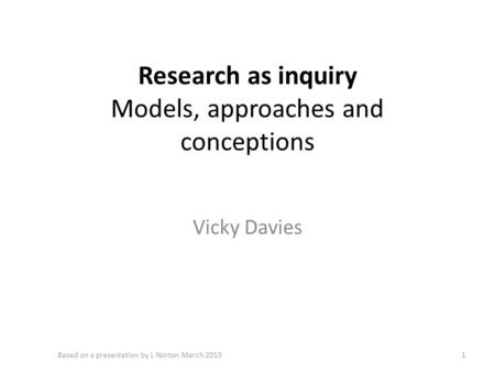 Research as inquiry Models, approaches and conceptions Vicky Davies 1Based on a presentation by L Norton March 2013.