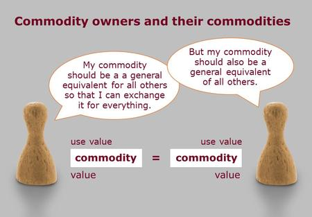 Commodity owners and their commodities My commodity should be a a general equivalent for all others so that I can exchange it for everything. But my commodity.