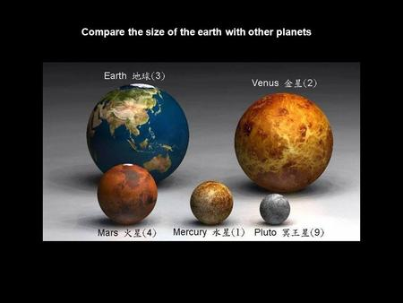 Compare the size of the earth with other planets.
