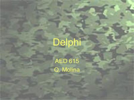 Delphi AED 615 Q. Molina. Objectives Become familiar with the social science research method known as Delphi.