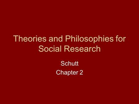 Theories and Philosophies for Social Research Schutt Chapter 2.