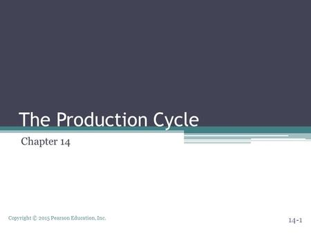 Copyright © 2015 Pearson Education, Inc. The Production Cycle Chapter 14 14-1.