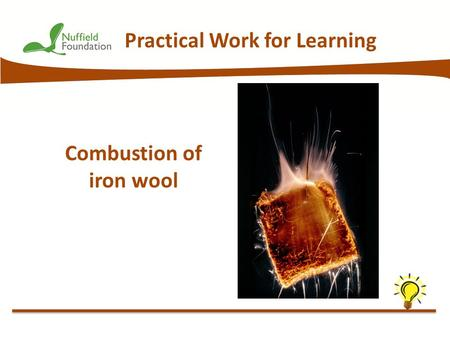 © Nuffield Foundation 2013 Practical Work for Learning Combustion of iron wool.