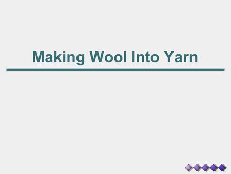 Making Wool Into Yarn.
