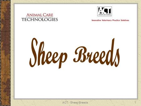 ACT - Sheep Breeds1. 2 RAMBOUILLET Fine Wool Breed (most popular) White fleece Rams – horned or polled Ewes – polled France – U.S. 1840.