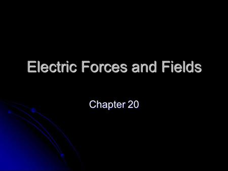 Electric Forces and Fields Chapter 20. Charges and Forces Experiment 1 Nothing happens Nothing happens The objects are neutral The objects are neutral.
