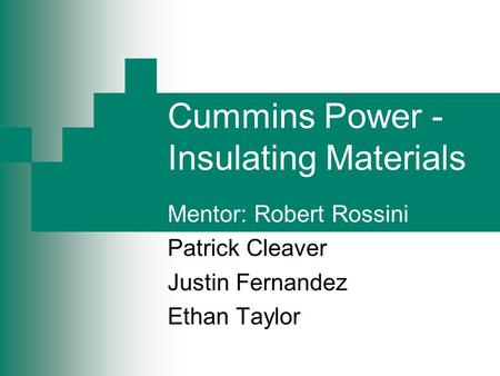 Cummins Power - Insulating Materials