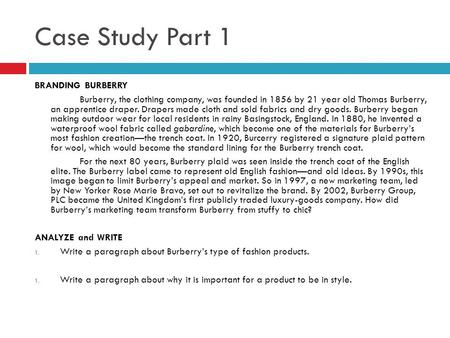 Case Study Part 1 BRANDING BURBERRY