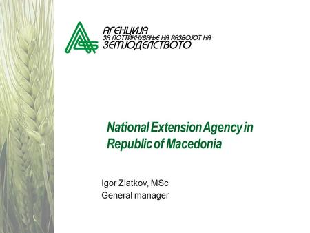 National Extension Agency in Republic of Macedonia
