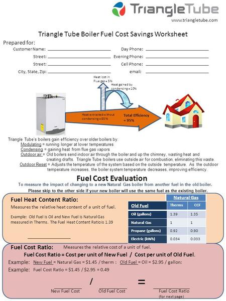 Triangle Tube Boiler Fuel Cost Savings Worksheet Fuel Cost Evaluation Prepared for: Fuel Heat Content Ratio: Fuel Cost Ratio: = New Fuel Cost Customer.